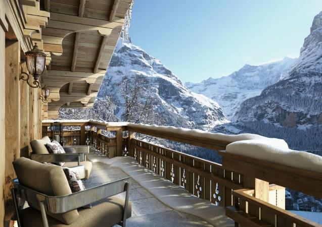 LEEM Wonen gletsjer dorpje Grindelwald balcony