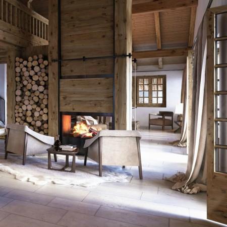 LEEM Wonen gletsjer dorpje Grindelwald fireplace
