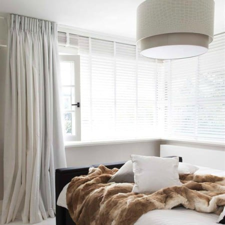 LEEM Wonen raamdecoratie houten lamellen wit