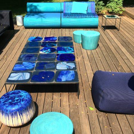 LEEM WONEN showroom Paola Lenti garden aqua blue