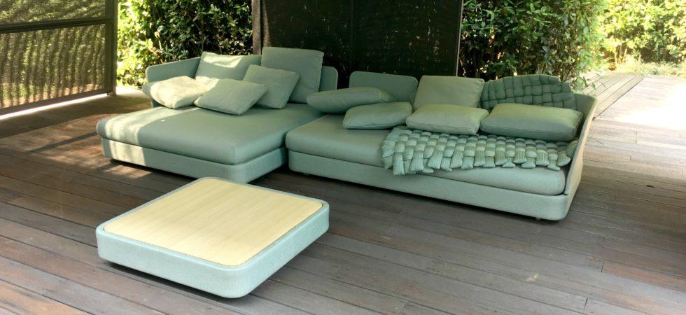 LEEM WONEN showroom Paola Lenti garden sofa